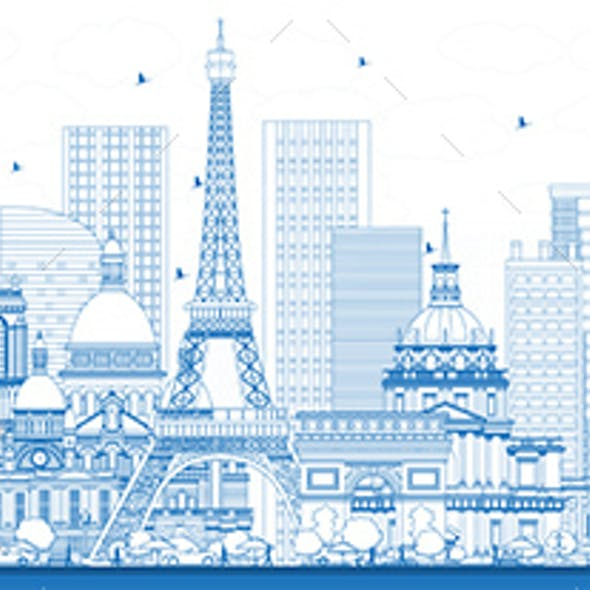 Outline France City Skyline with Blue Buildings