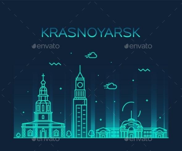 Krasnoyarsk Skyline Krai Russia Vector Line Style - Buildings Objects