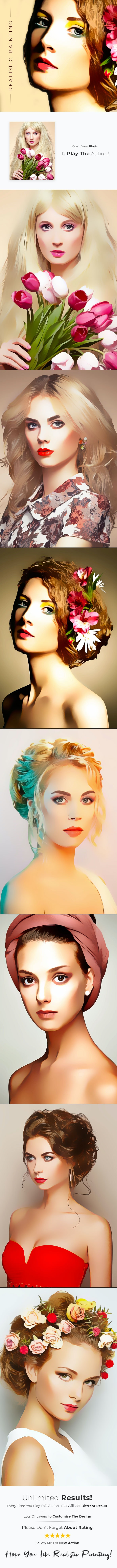 Realistic Painting Photoshop Action - Photo Effects Actions