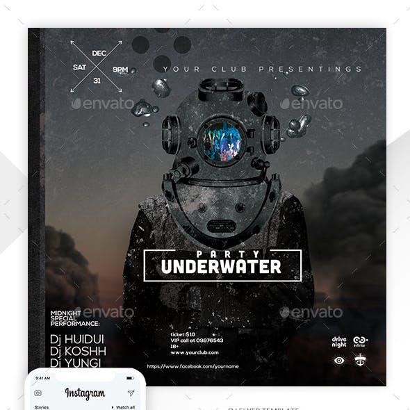 Underwater DJ party Flyer