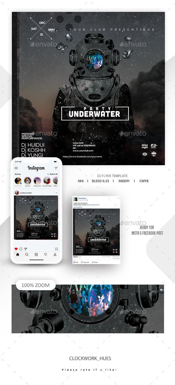 Underwater DJ party Flyer - Events Flyers