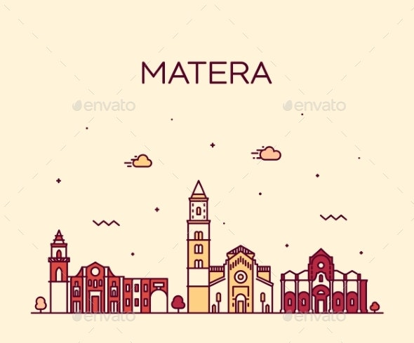 Matera Skyline Basilicata Southern Italy a Vector - Buildings Objects