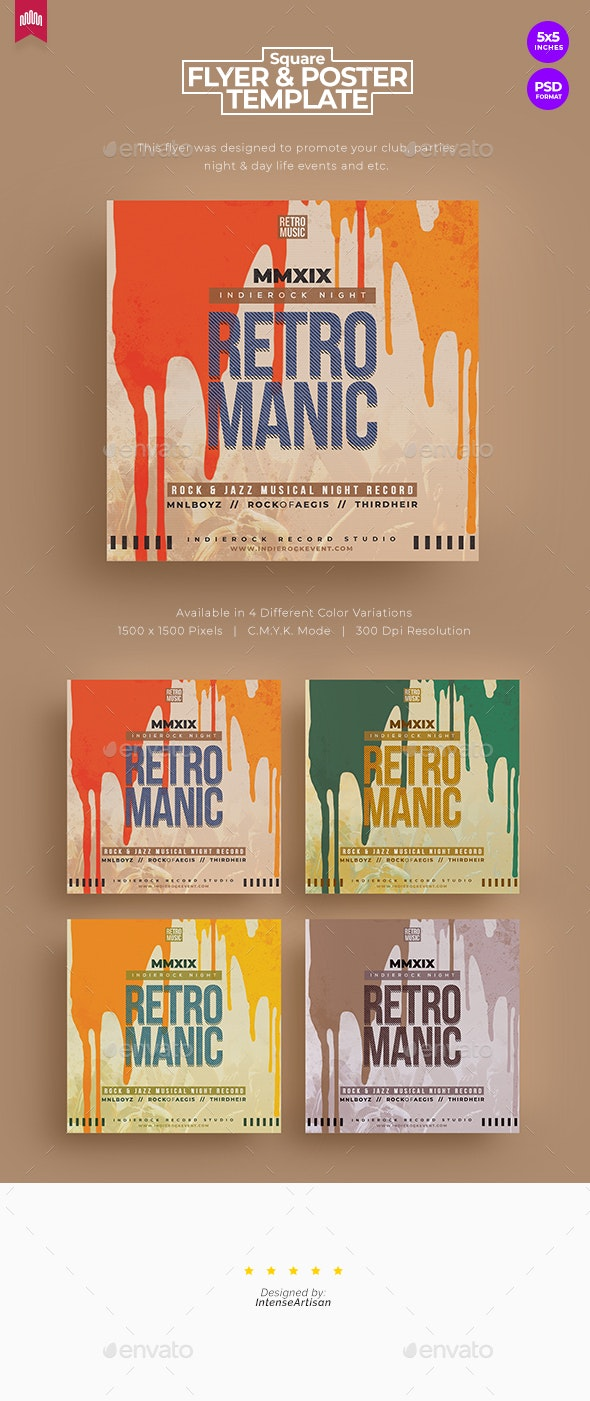 Retro Manic - Square Flyer - Clubs & Parties Events