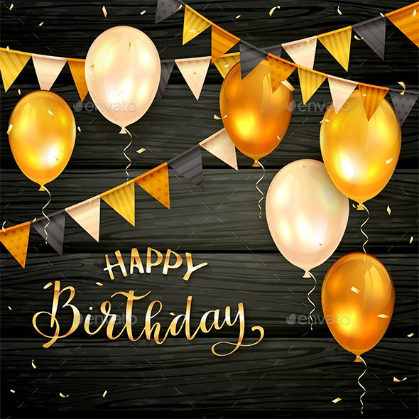 Black Wooden Background with Golden Birthday Balloons and Pennants - Birthdays Seasons/Holidays