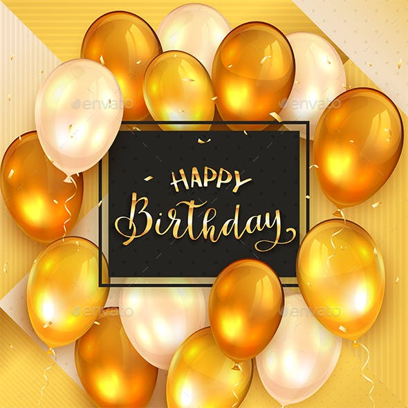 Gold Background and Golden Lettering Happy Birthday and Balloons
