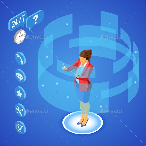 Isometric Online Customer Support - Services Commercial / Shopping