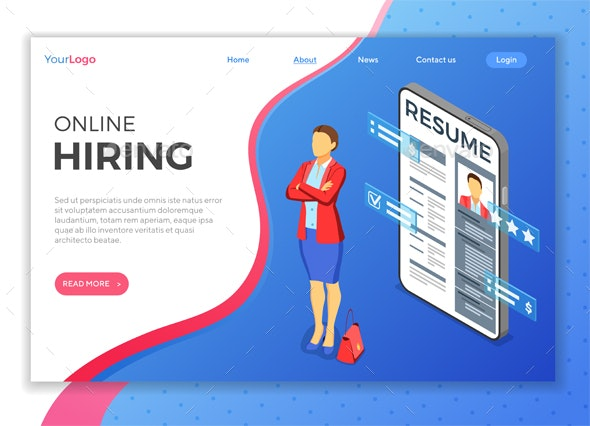 Isometric Employment and Hiring Concept - Concepts Business