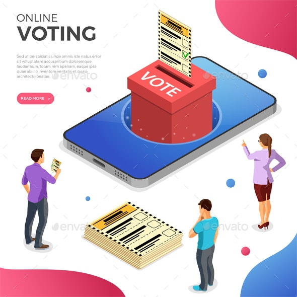 Online Internet Voting Isometric Concept - Miscellaneous Vectors