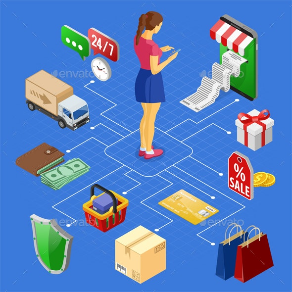 Internet Shopping Online Payments Isometric Concept - Retail Commercial / Shopping