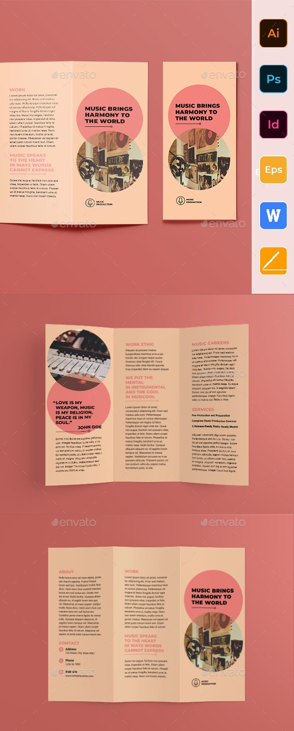 Music Production Trifold Brochure - Corporate Brochures