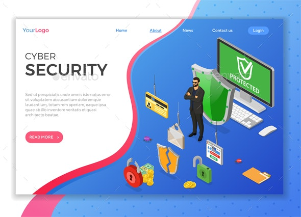 Cyber Security Isometric Concept - Computers Technology