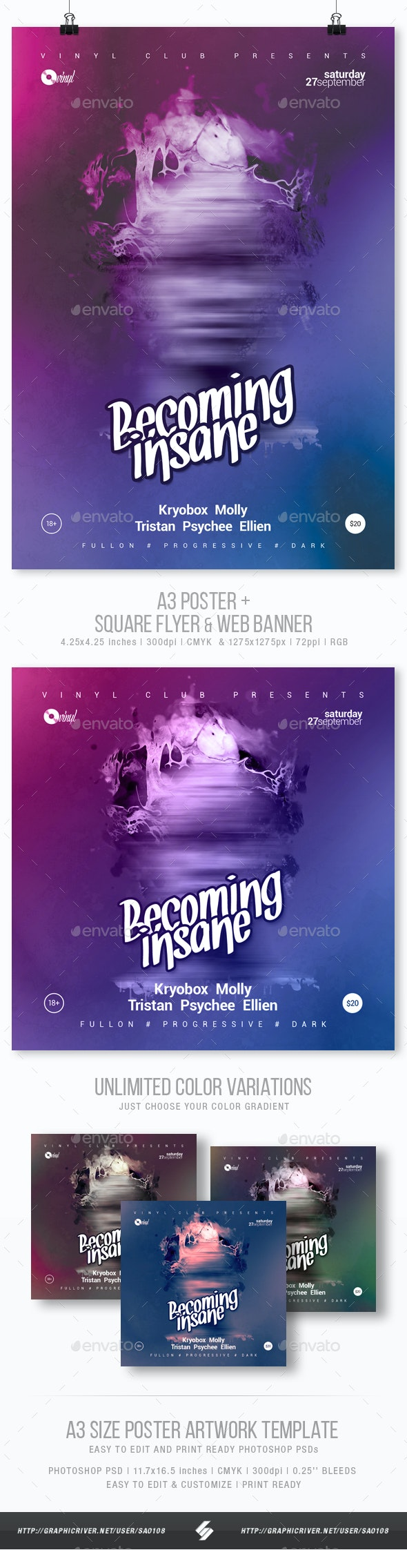 Becoming Insane - Progressive Party Flyer / Poster Template A3 - Clubs & Parties Events