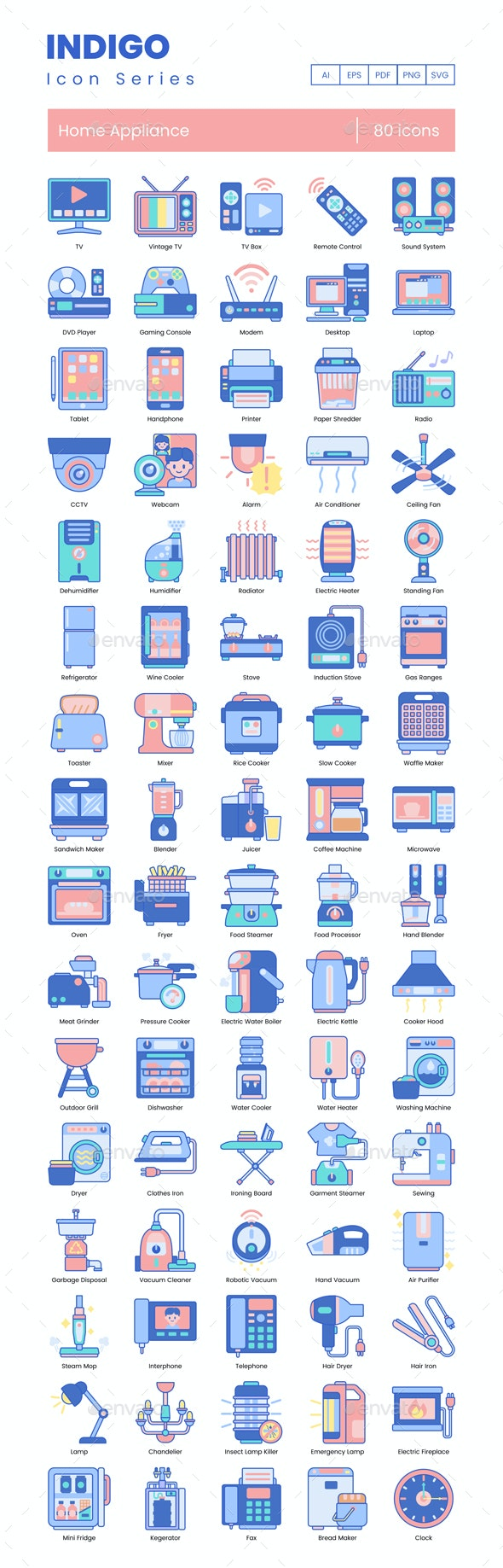 Home Appliance Icons – Indigo Series - Objects Icons