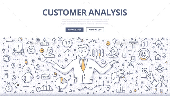 Customer Analysis Doodle Banner - Communications Technology