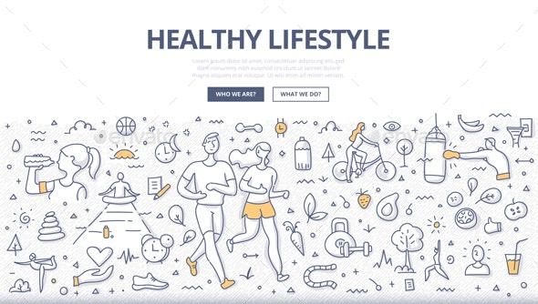 Healthy Lifestyle Doodle Concept - Sports/Activity Conceptual