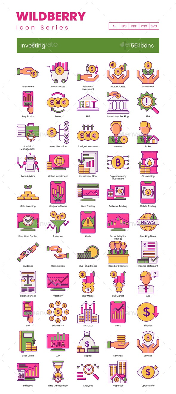 Investing Icons – Wildberry Series - Business Icons