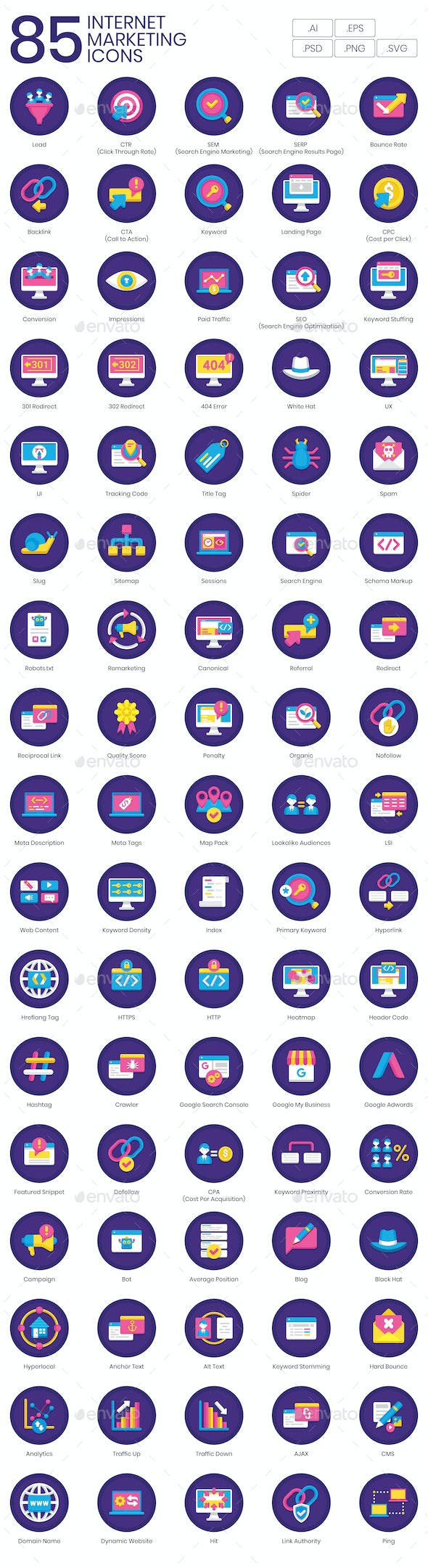 Internet Marketing Icons – Orchid Series - Business Icons
