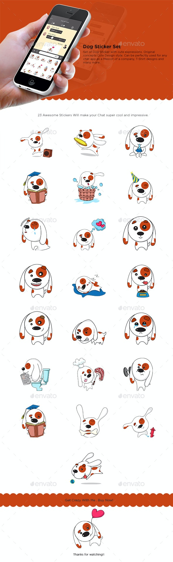 Dog Sticker Set - Animals Characters