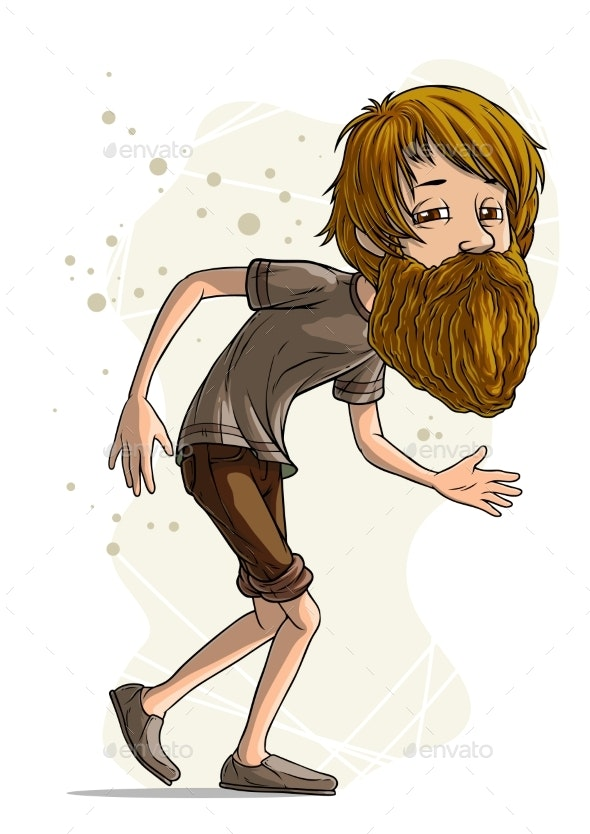 Cartoon Bearded Hipster Character Vector - People Characters