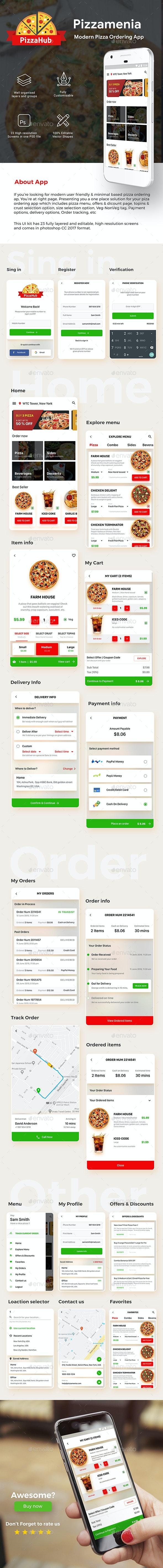 Pizza Ordering & Delivering App UI Kit | Pizzamenia - User Interfaces Web Elements