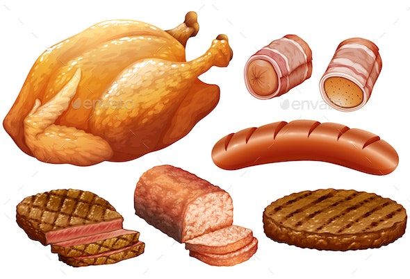 Various Meats - Food Objects