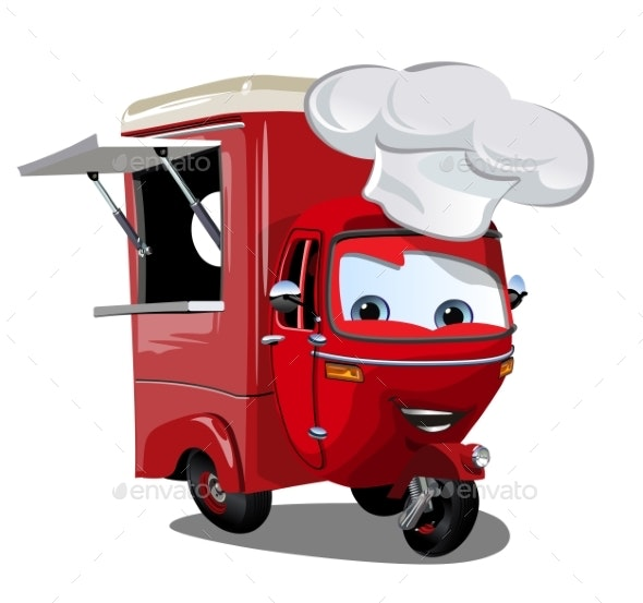 Vector Cartoon Food Truck Scooter Isolated - Man-made Objects Objects