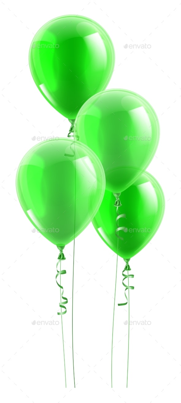 Green Party Balloons Graphic - Miscellaneous Vectors