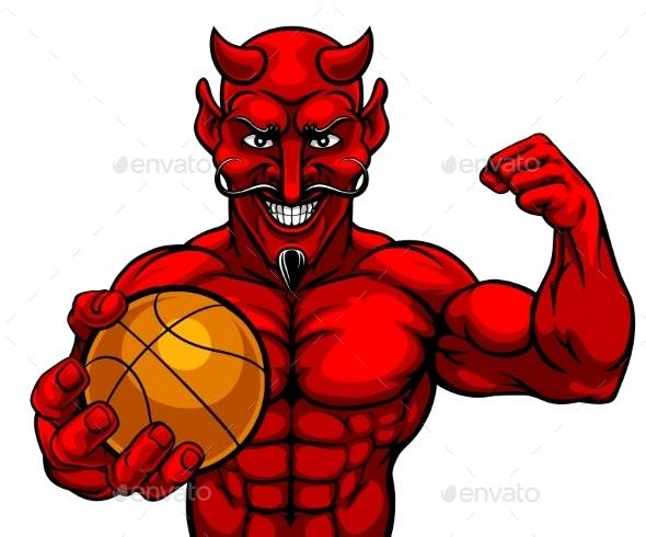 Devil Basketball Sports Mascot Holding Ball - Sports/Activity Conceptual