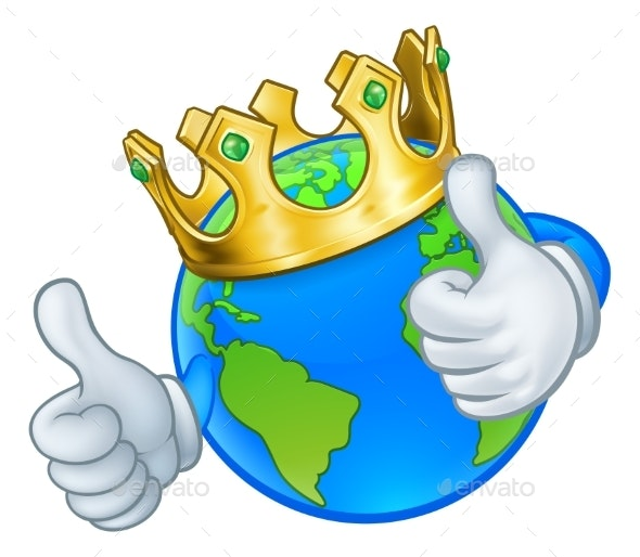 King Gold Crown Earth Globe World Cartoon Mascot - Miscellaneous Characters
