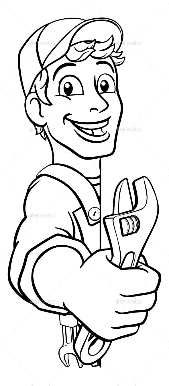 Mechanic Plumber Wrench Spanner Cartoon Handyman - People Characters