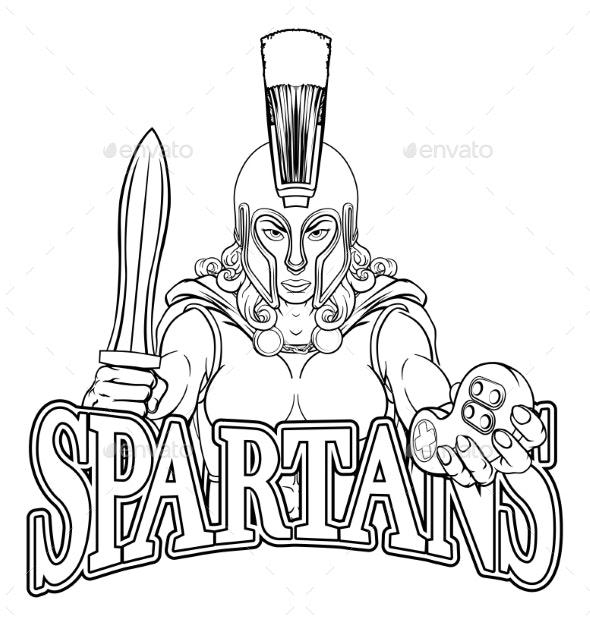 Spartan Trojan Gladiator Gamer Warrior Woman - People Characters