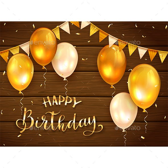 Wooden Background with Golden Birthday Balloons