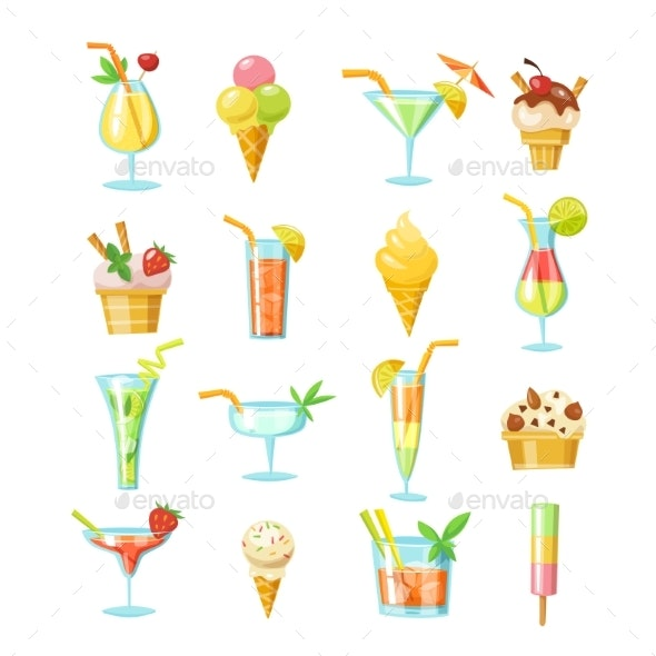 Vector Set of Cocktails and Ice Cream Icons - Food Objects