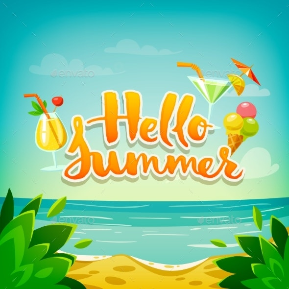 Hello Summer Vector Poster with Ocean Beach - Food Objects