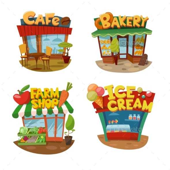 Set of Four Vector Buildings - Food Objects