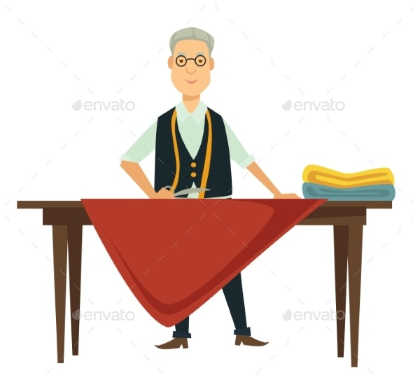Dressmaker or Fashion Designer Measuring Textile - Man-made Objects Objects