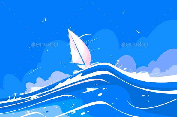 White Sailing Yacht - Man-made Objects Objects