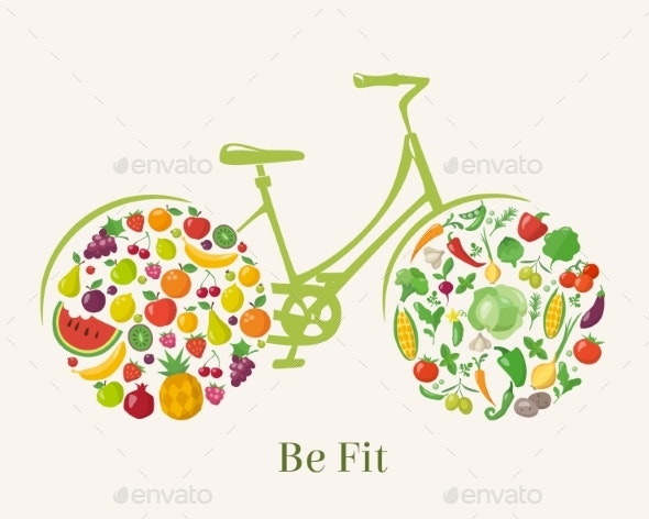 Vector Design with Healthy Food in Bicycle Form - Food Objects
