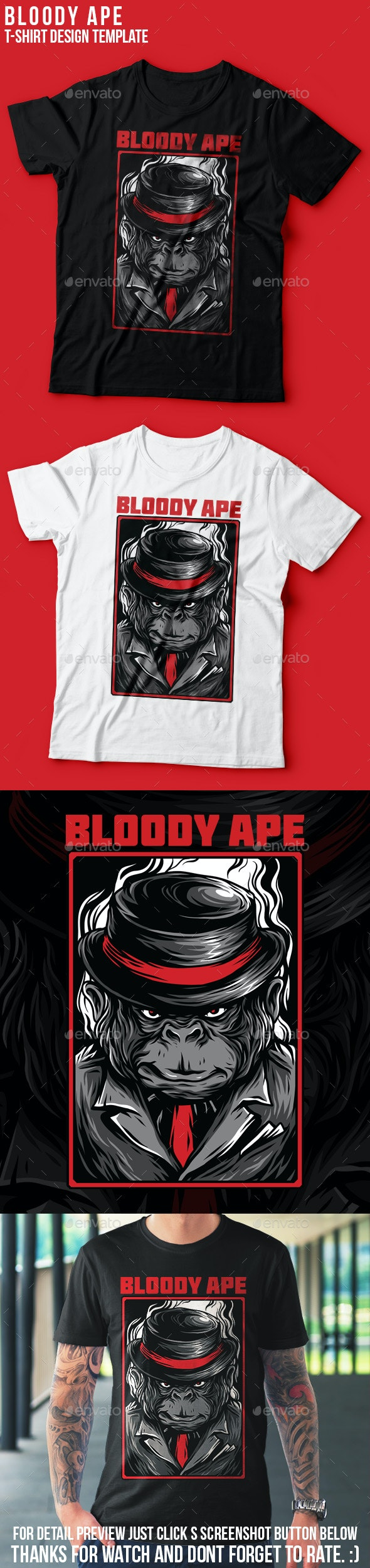 Bloody Ape T-Shirt Design - Academic T-Shirts