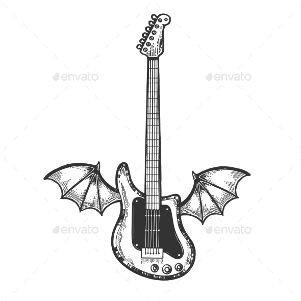 Electric Guitar with Wings Sketch Engraving Vector - Miscellaneous Vectors