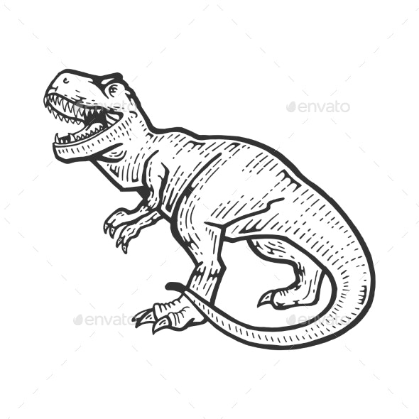 Tyrannosaur Sketch Engraving Vector Illustration - Miscellaneous Characters