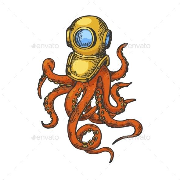 Octopus and Old Diver Helmet Color Sketch - Miscellaneous Vectors