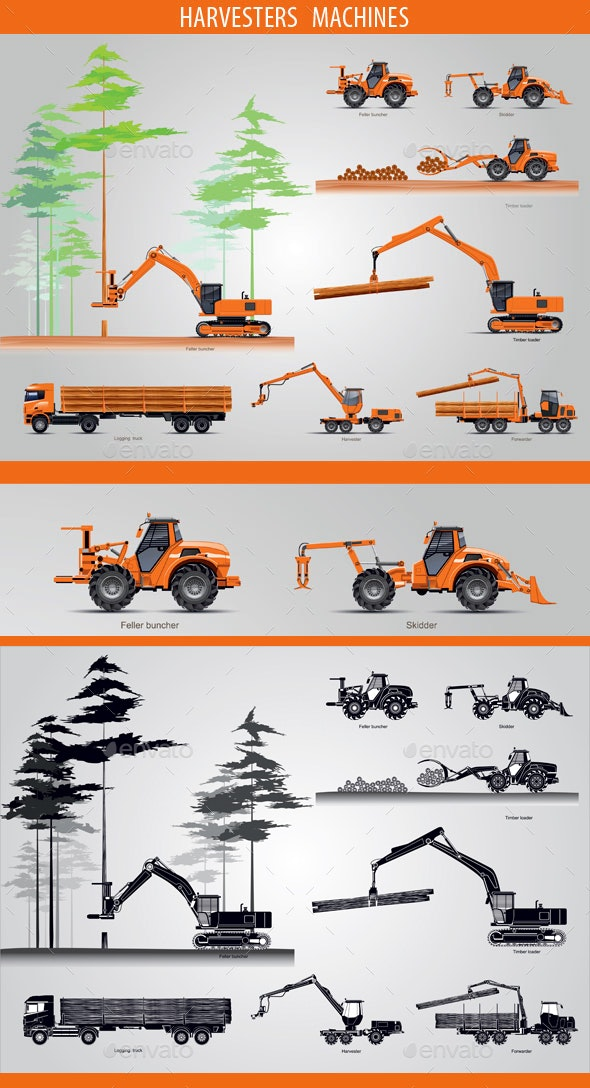 Harvesters Machines - Man-made Objects Objects