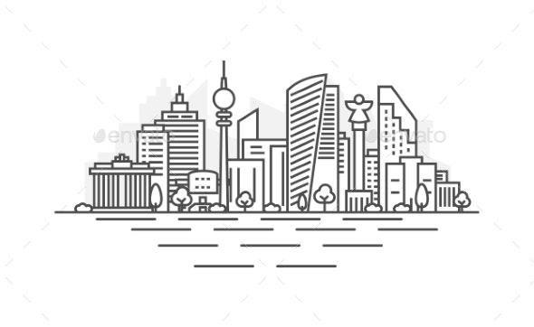 Berlin, Germany Architecture Line Skyline - Buildings Objects