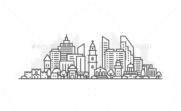 Israel Jerusalem Architecture Line Skyline - Buildings Objects