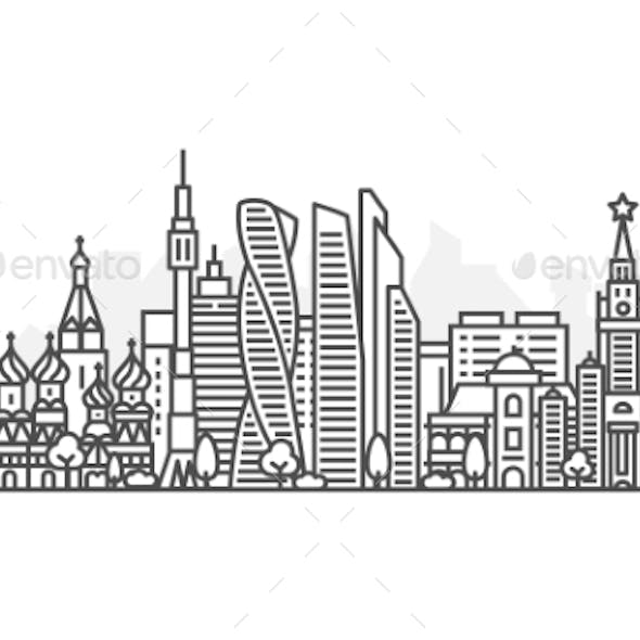 Moscow Russia Architecture Line Skyline