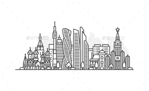 Moscow Russia Architecture Line Skyline - Buildings Objects
