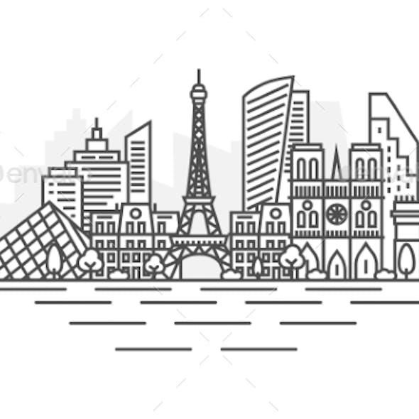 Paris France Architecture Line Skyline