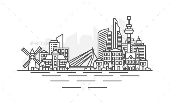 Rotterdam Netherlands Architecture Line Skyline - Buildings Objects