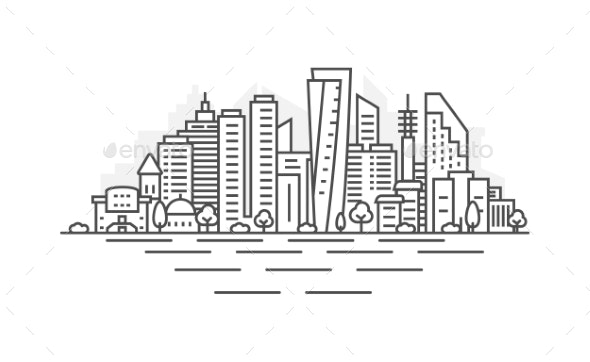 Cityscape Building Line Art Vector Illustration - Buildings Objects